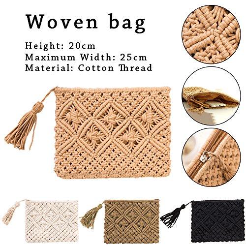 Woven Bohemian nbsp;Style Khaki Samber nbsp;Bag Tassel Summer Cotton nbsp;Beach nbsp;Handbag nbsp;Bag Hand qIpq7Zw