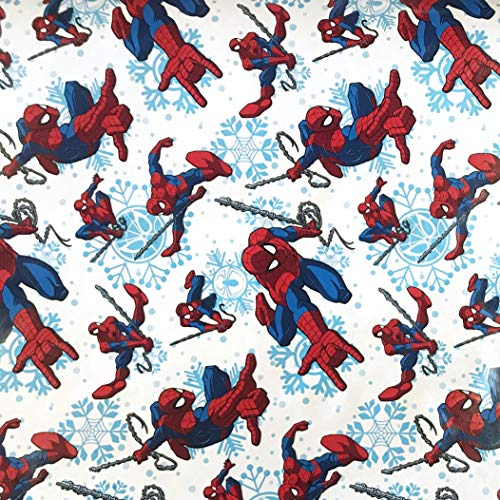 (DC Christmas Wrapping Paper- Spiderman Wrapping Paper - Super Hero Wrapping Paper Birthday - Spiderman Wrapping Paper - Spiderman Gift Paper - 1 Roll (White Snowflake Spiderman - 65sf))