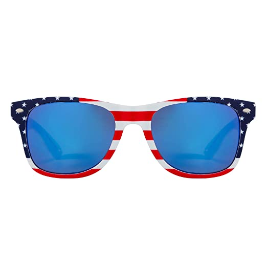 1bf03867598 USA Flag Sunglasses Shades Mirror Finish Stars   Stripes Classic Style With  UV400 Protection Men Women
