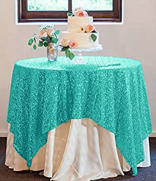 Amazoncom ShinyBeautyMint GreenSequin Tablecloth72x72Inch