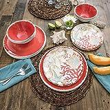 18 Piece Melamine Dinnerware Set Sealife Design (Coral Sea Shells)