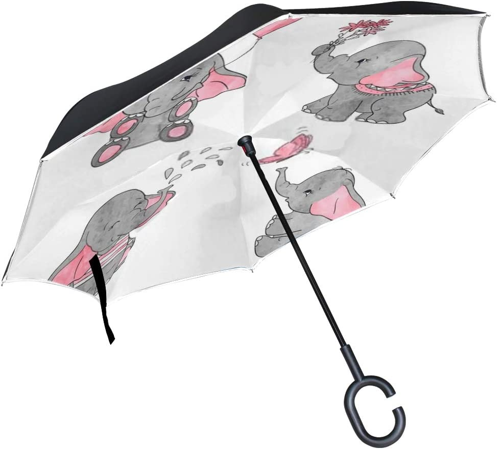 Double Layer Inverted Inverted Umbrella Is Light And Sturdy Cute Cartoon Character Design Black Grey Reverse Umbrella And Windproof Umbrella Edge Nig