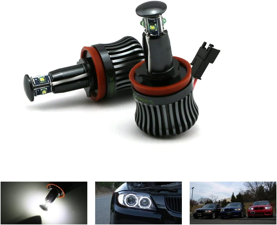 H8 Led BMW Halo,ZXREEK High Power 20W CREE 360-Degree 6500K White Headlight Marker LED For BMW Xenon Led Headlight E60 E61 E90 E92 E70 E71 E82 E89 1 3 5 Series X5 X6 Z4