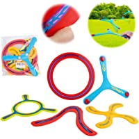 deAO Conjunto Boomerang de 5 Piezas para Principiantes Set de Bumerán Multicolor Actividades Deportivas Infantiles y en…