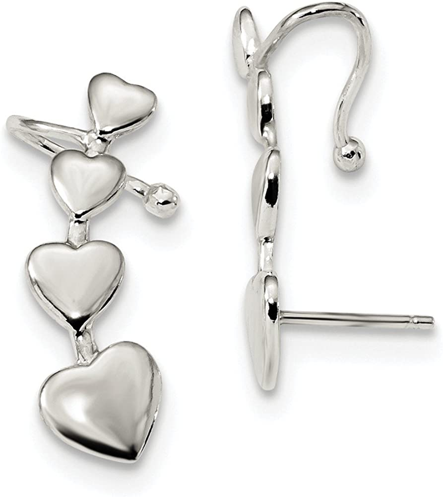 8 x 25mm Sterling Silver Polished Hearts Post /& Cuff Climber Earrings