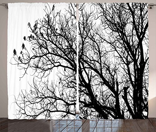 """Ambesonne Nature Curtains, Leafless Autumn Fall Tree Branches Tops Oak Forest Woodland Season Eco Theme, Living Room Bedroom Window Drapes 2 Panel Set, 108"""" X 84"""", White and Black"""