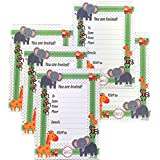 "Adorox Baby Shower Birthday Invitations (5""X7"") Fill In Cards Baby-Animals Jungle Safari Theme Party With Envelopes (48 Invitations)"