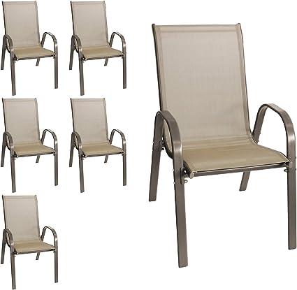 wohaga new york lot de 6 chaises de jardin empilables avec revetement en textile et structure en acier revetu par pulverisation couleur champagne