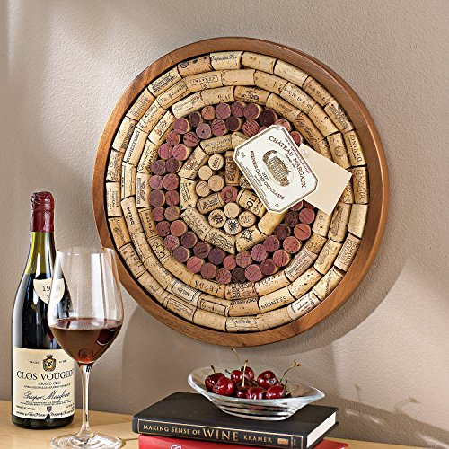 Wine Enthusiast 340 12 02 Round Wine Cork Board Kit Light Brown