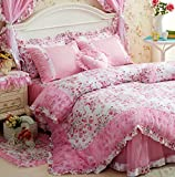 Princess Ruffle Lace Bedding Cottage Shabby Chic Duvet Cover 4pc Set Queen 100% Cotton Romantic French Country Style Ruched Floral Pink White