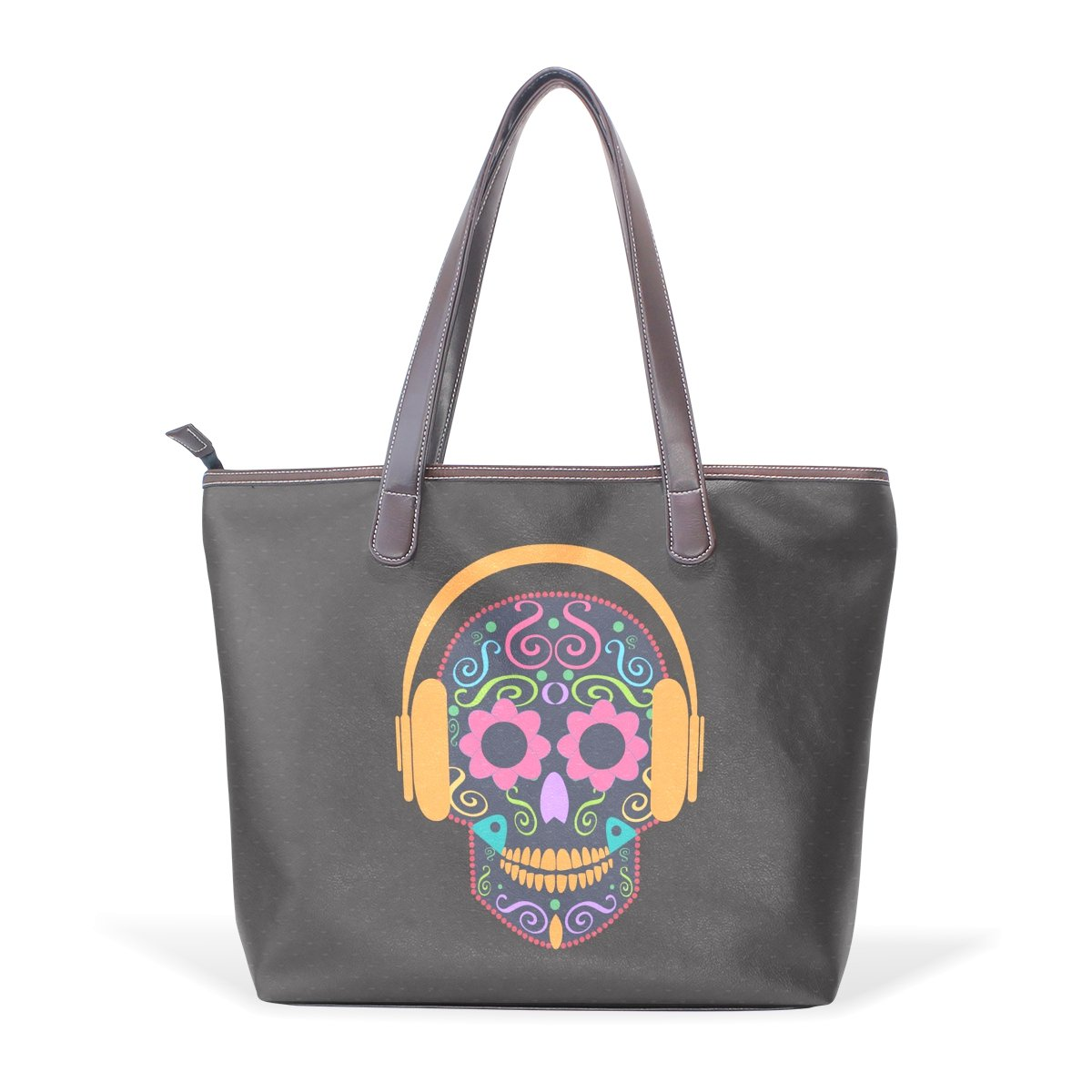 SCDS Wearing Headphones Skulls PU Leather Lady Handbag Tote Bag Zipper Shoulder Bag