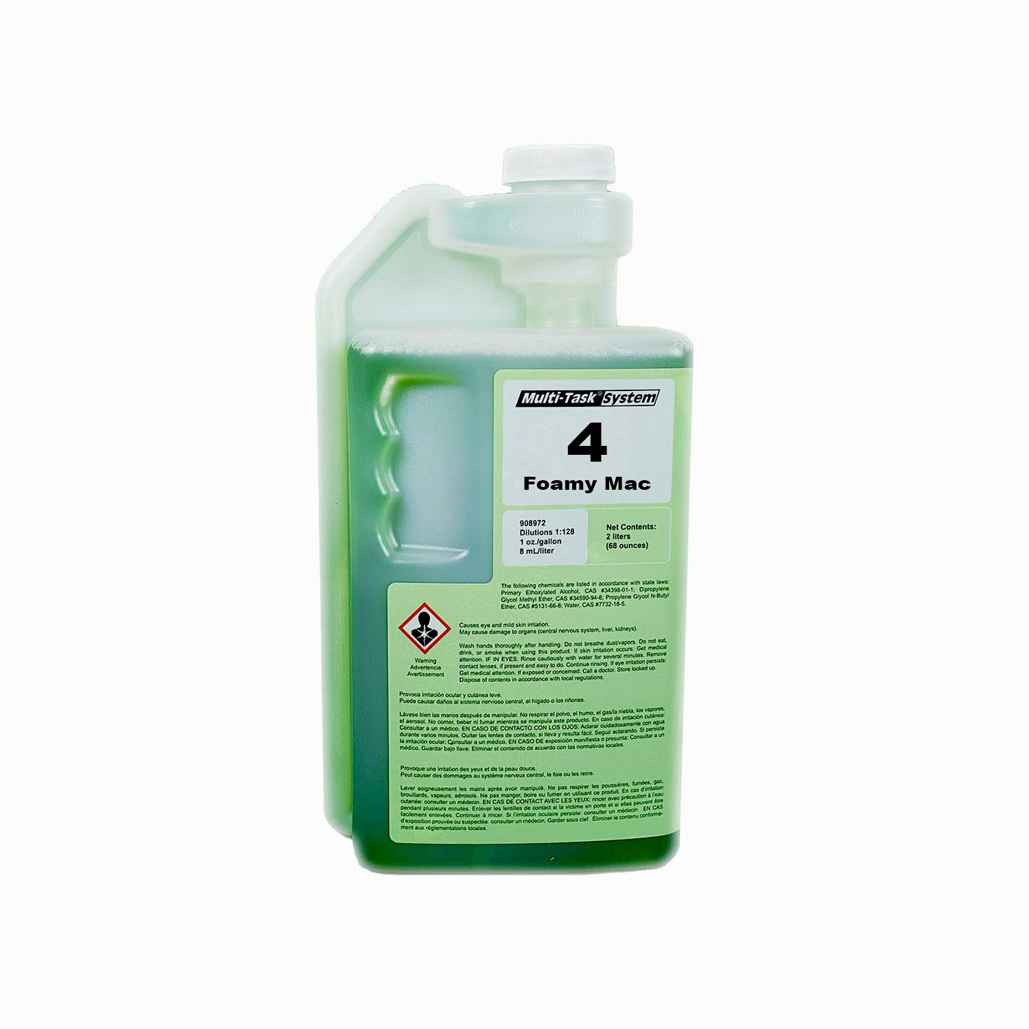 Multi-Clean 908742 4 Foamy MAC Restroom Basin Tub and Tile Cleaner Concentrate, Green Seal Certified, Squeeze and Pour Dilution Control (Pack of 4)