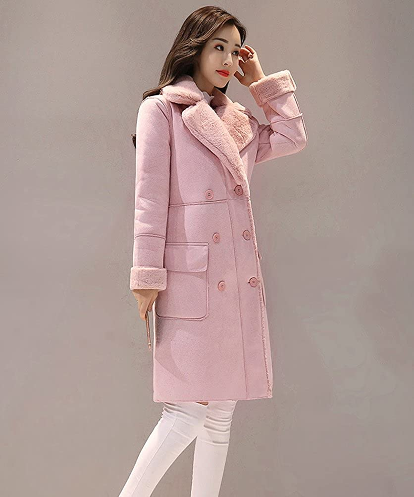 YuanDian Femme Revers Double Boutonnage Trench Fausse Fourrure Mode Chaud Longue Veste Manteaux Hiver Clair Rose