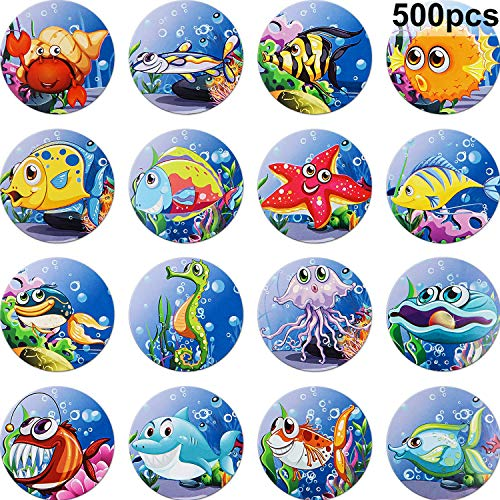 (Chinco 500 Pieces Tropical Sea Life Roll Stickers 1-1/2 Inch Ocean Life Roll Stickers Mermaid Stickers for Kids/ Summer/ Hawaiian Party Decorations/ Mermaid Party/ Stationery)