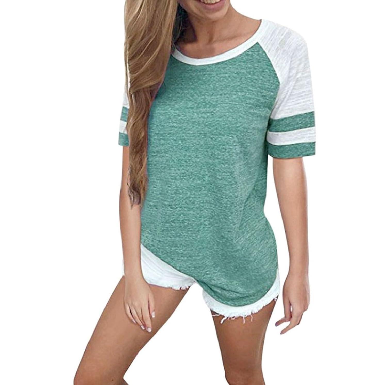 4fad4f0078c8d7 SEWORLD T-Shirt Damen Sommer Mode Frauen Kurzarm Streifen Splice Bluse Tops  Kleidung T-