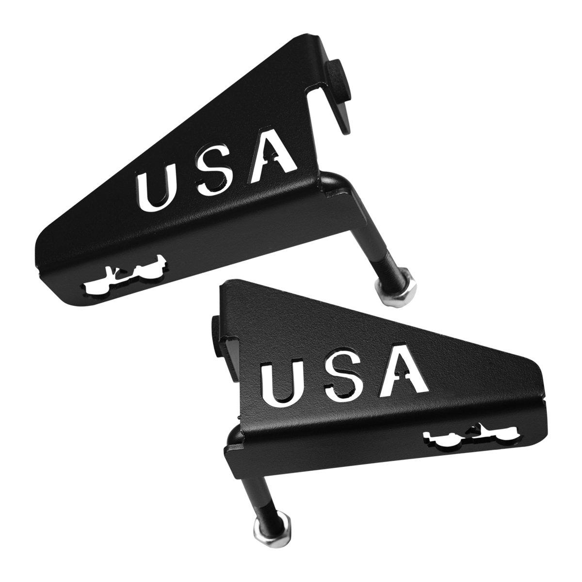 ICARS Black USA Foot Rest Pegs for 2007-2018 Jeep Wrangler JK 2DR JKU 4DR - 2pcs