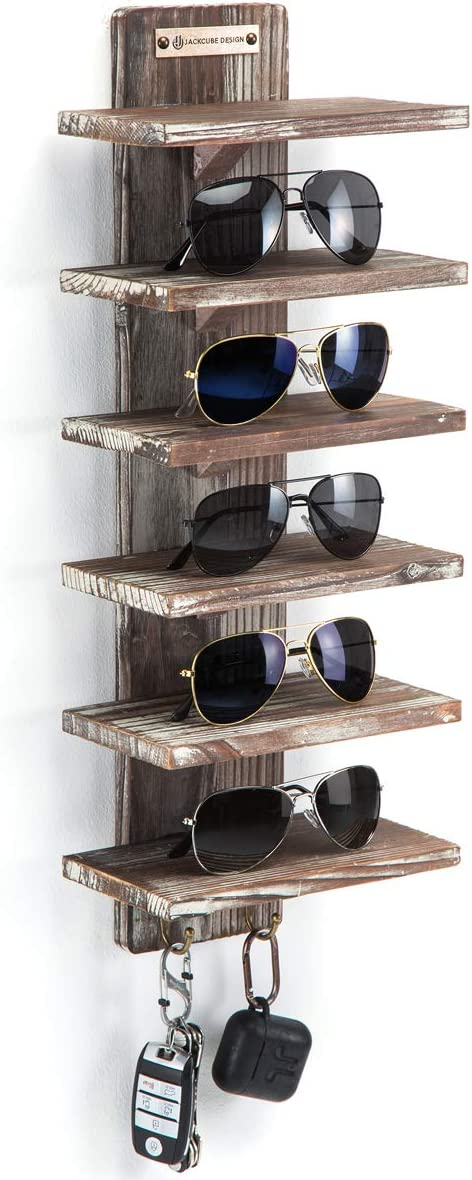 J JACKCUBE DESIGN Rustic Wood Wall Mount Sunglasses Organizer 6 Tiers Rack with 2 Hooks Glasses Storage Box Display Cabinet for Jewelry Watches Key Multiple Case MK551A (Rustic Wood)