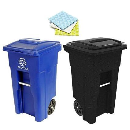 Amazon Com Toter 32 Gallon 2 Wheel Trash Can Cart Blackstone Blue