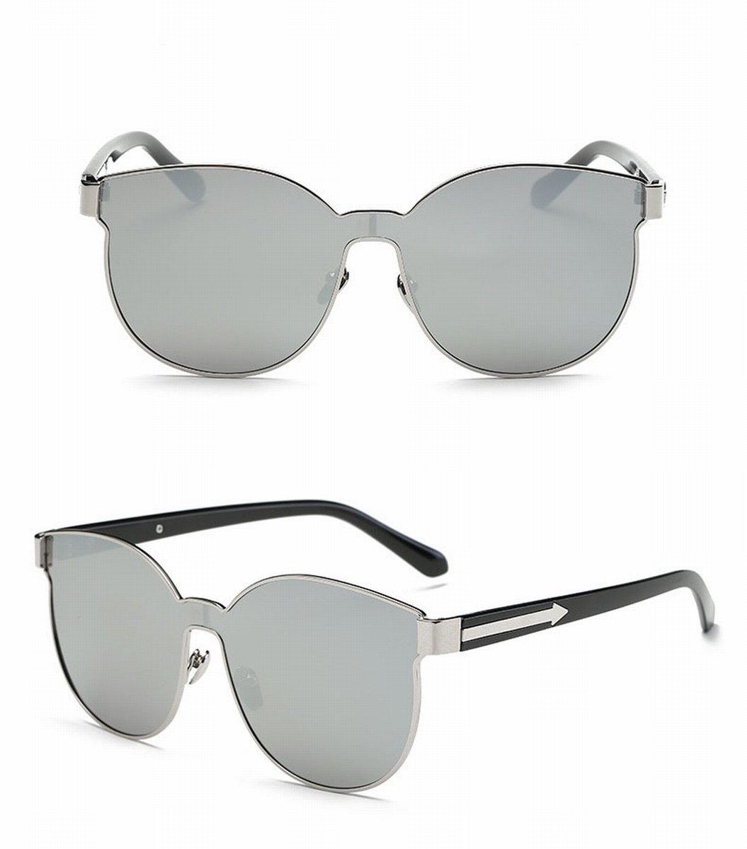 Große rahmen sonnenbrille verbunden Linse individualität Pfeil sonnenbrille mode damen sonnenbrille schwarzer rahmen graues Objektiv PRazBy59ED