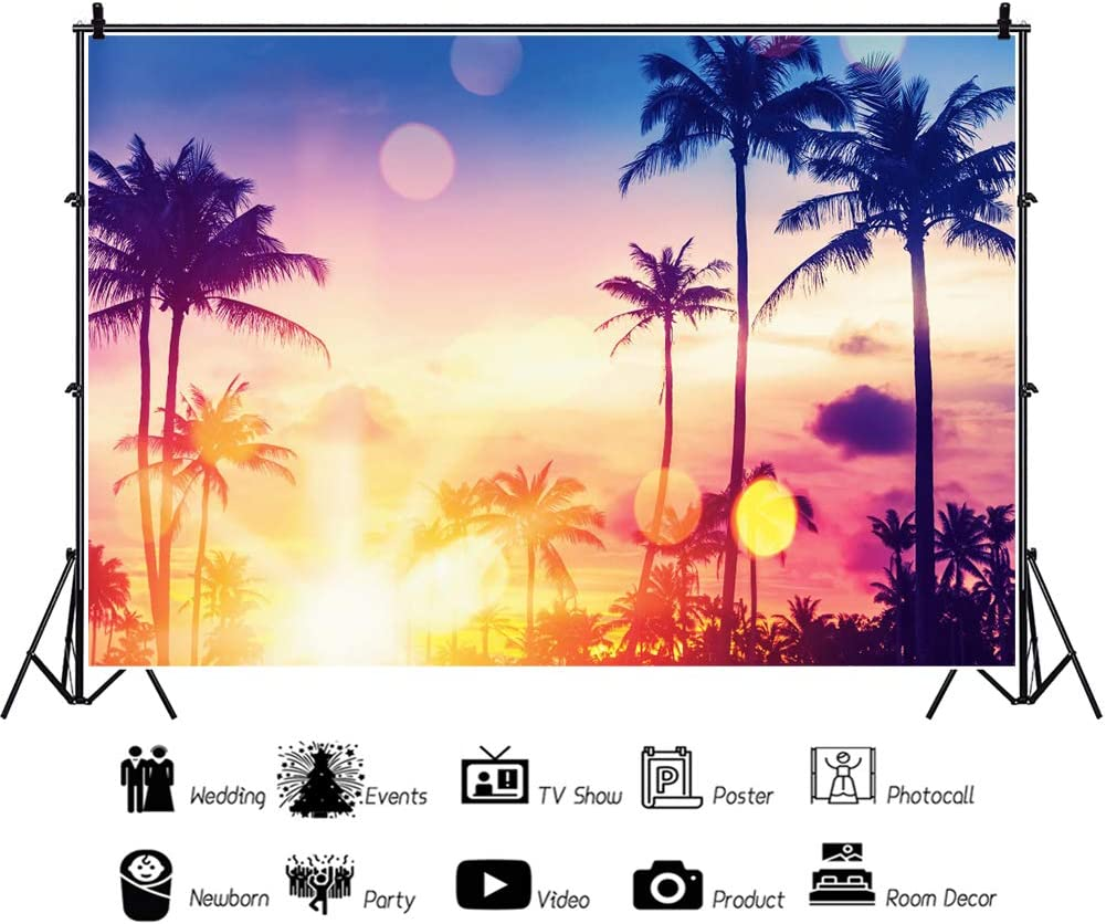 YEELE 10x8ft Summer Vacation Backdrop Tropical Palm Tree Colorful Bokeh on Sunset Sky Photography Background Kid Lovers Portrait Photoshoot Studio Props Summer Luau Party Wedding Photos Wallpaper