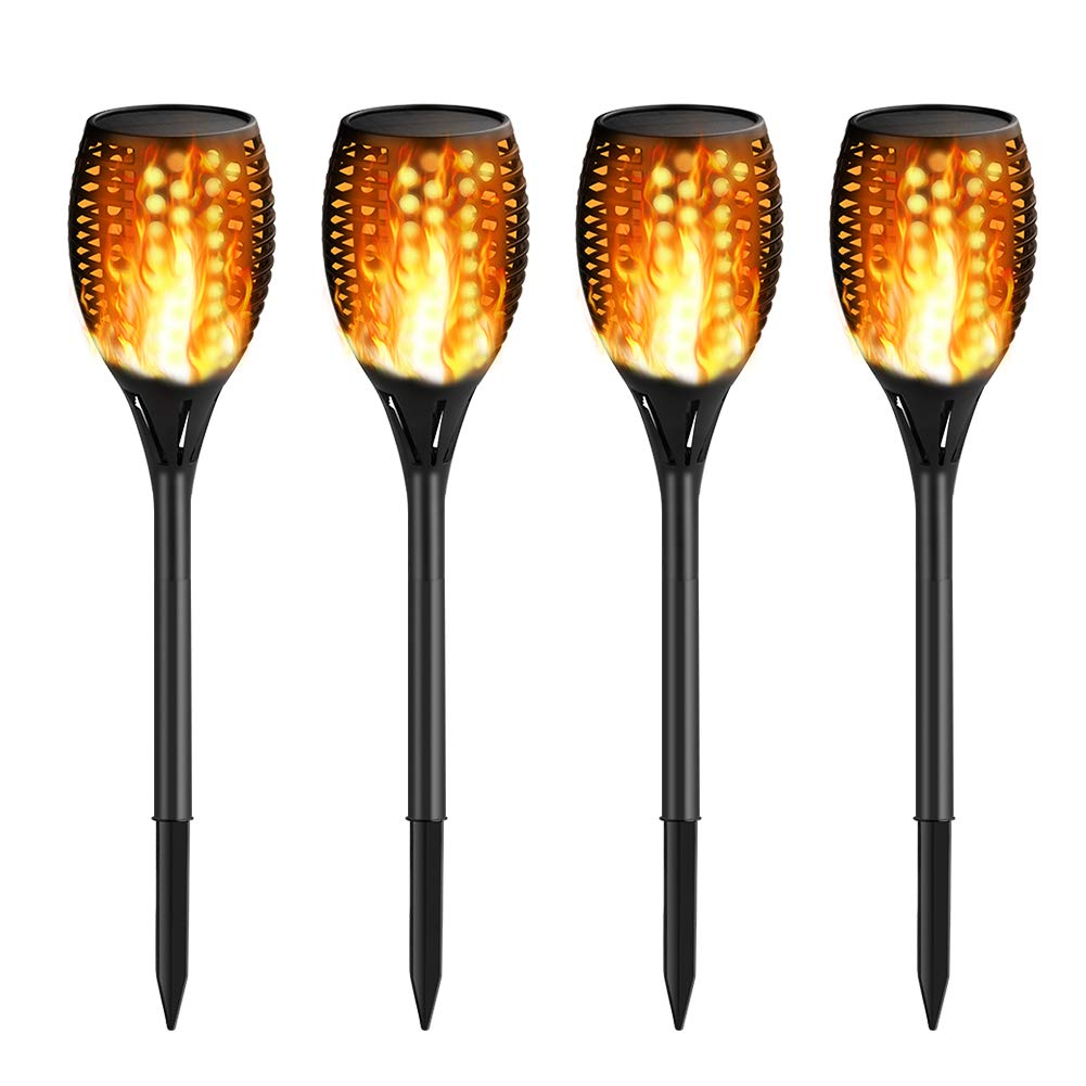 CYLAPEX Solar Lights Outdoor 4 Pack, Waterproof Solar Torch Light with Flickering Flames Landscape Decoration Fire Lighting Dusk to Dawn Auto On/Off Security Solar Torch Light for Patio Pathway