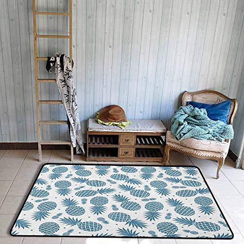 - Bedroom Rug,Pineapple Island Themed Minimalistic Multi Sized Tropic Fruity Pineapple Printed Vintage,Extra Large Rug,5'3
