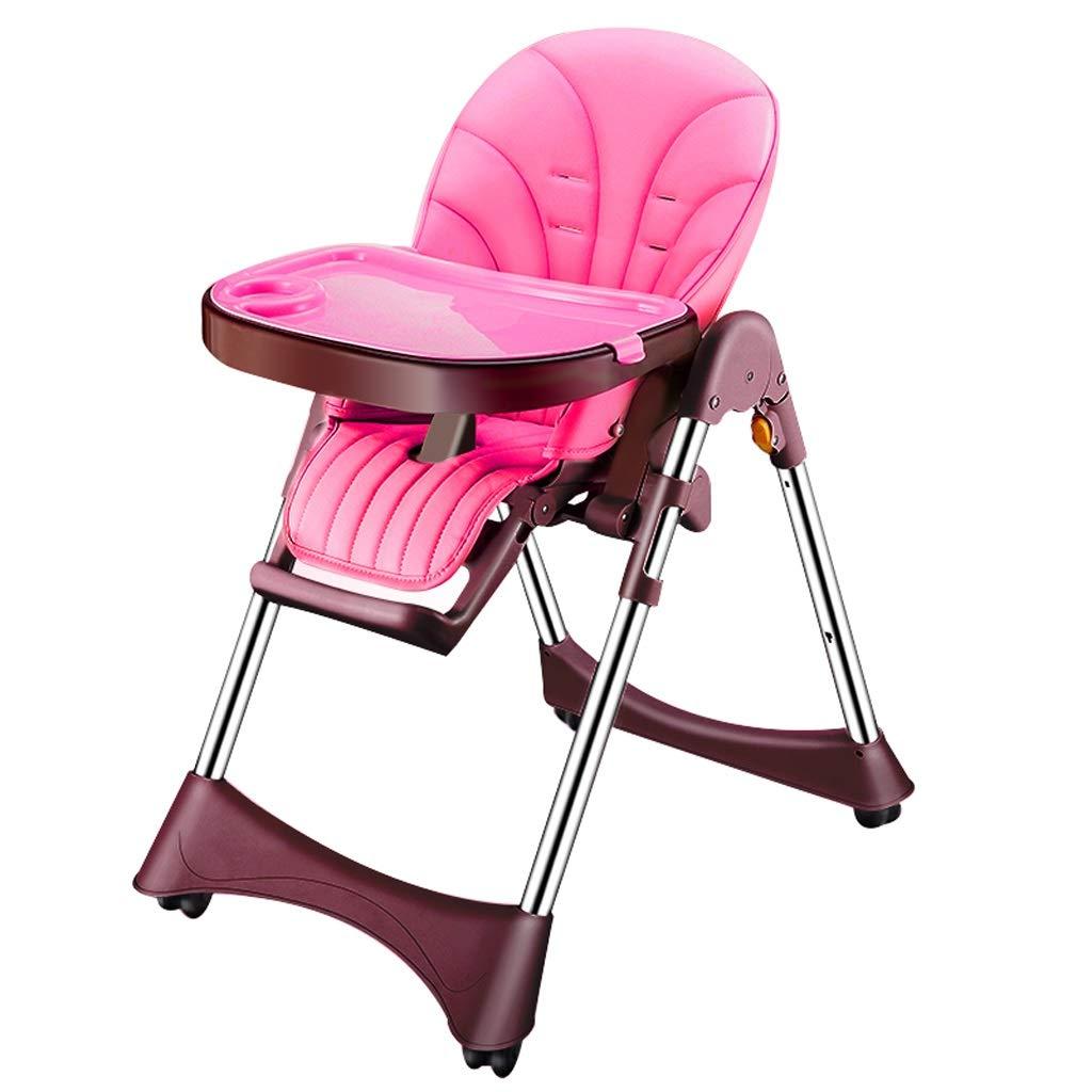 ダイニングチェア、座席は横になることができます、ダブルプレート、折り畳み式調節可能な多機能子供用コンフォートシートスツール、ホーム用 (色 : Pink)  Pink B07KKCS3P6