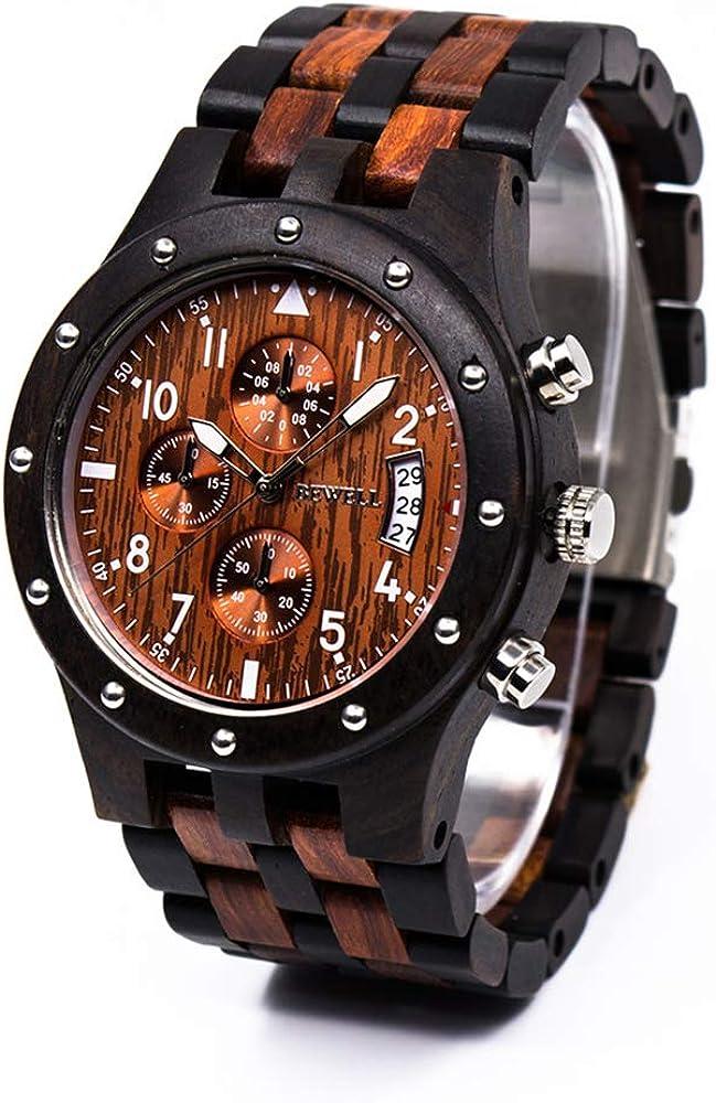 BEWELL Reloj De Madera Natural Estilo Vintage Movimiento De Cuarzo Japonés Reloj De Madera Pantalla De Fecha con Función De Cronógrafo, Reloj De Pulsera Ecológica para Hombre W109D