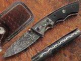 Grippy Pocket Knife Damascus Steel Blade Black Horn Handle Review