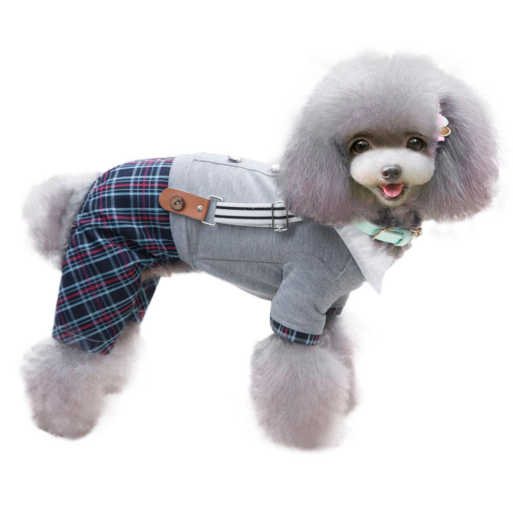 Conwinart Pet Clothes,Party Summer British Style Bib Pants Dog Pet Puppy Clothing Strap Four-Legged Pants Puppy Costumes Fashion Dog Apparel