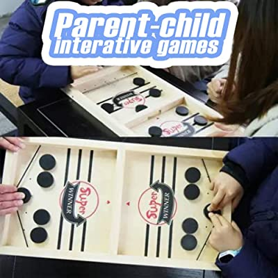 Fast Sling Puck Game 2 in 1 Ice Ball Air Hockey Game, Wood Competitive Table and Ball Catapult, Bumper Chess Child Interactive Game, 2 Player Finger Hockey Board, Interactive for Family Party: Toys & Games