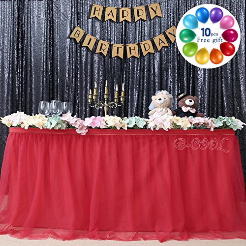 B-COOL 3 Yards Fluffy Tutu Table Skirt High-end Gold Brim 3 Layer Mesh Tulle Tableware Table Cloth For Party,Wedding,Birthday Christmas Party&Home Decoration Table Skirting(L9(ft) H 30in,Red) ()