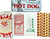 popcorn bag holder - Outside the Box Papers Ultimate Carnival Party Pack - 24 Foil Hot Dog Bags 24 Printed Pickle Bags , 24 Peanut Bags ,24 Popcorn Bags and 25 Each of Red and Yellow Paper Straw