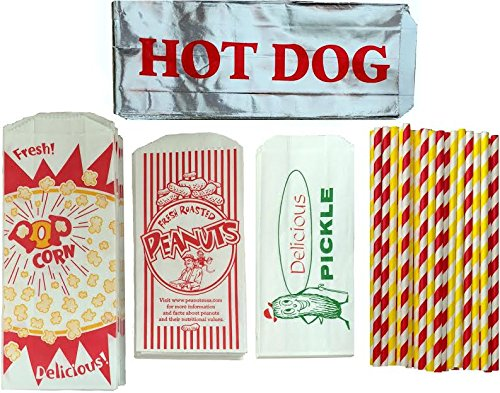 Outside the Box Papers Ultimate Carnival Party Pack - 24 Foil Hot Dog Bags 24 Printed Pickle Bags , 24 Peanut Bags ,24 Popcorn Bags and 25 Each of Red and Yellow Paper Straw ()