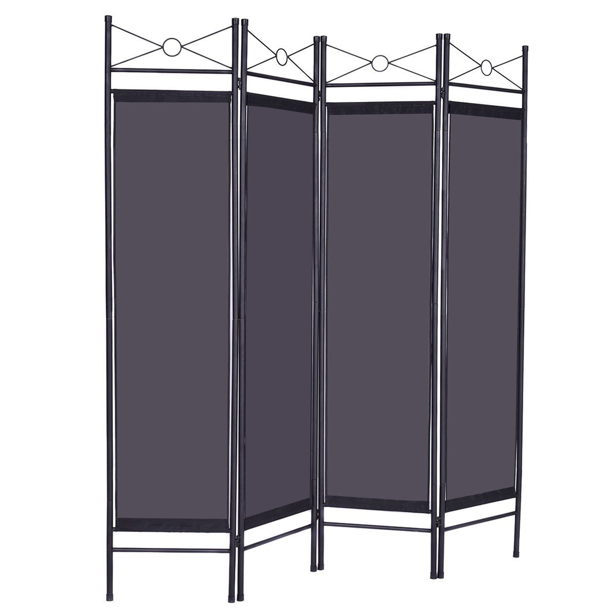 4 Panel Room Divider Privacy Folding Screen Home Office Fabric Metal Frame 3 Color