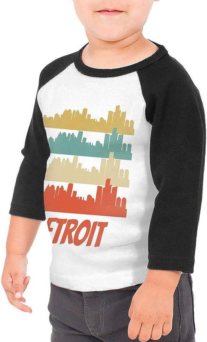 QPKMRTZTX0 Boys Girls Kids /& Toddler Retro Style Detroit Michigan Skyline1 Long Sleeve Tees 100/% Cotton
