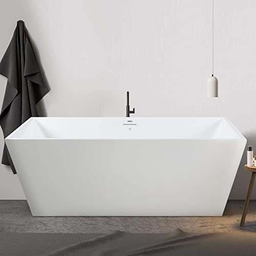 FerdY 59″x30″ Freestanding Bathtub Straight Contemporary Soaking Bathtub