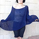 Dark blue poncho tunic #044F