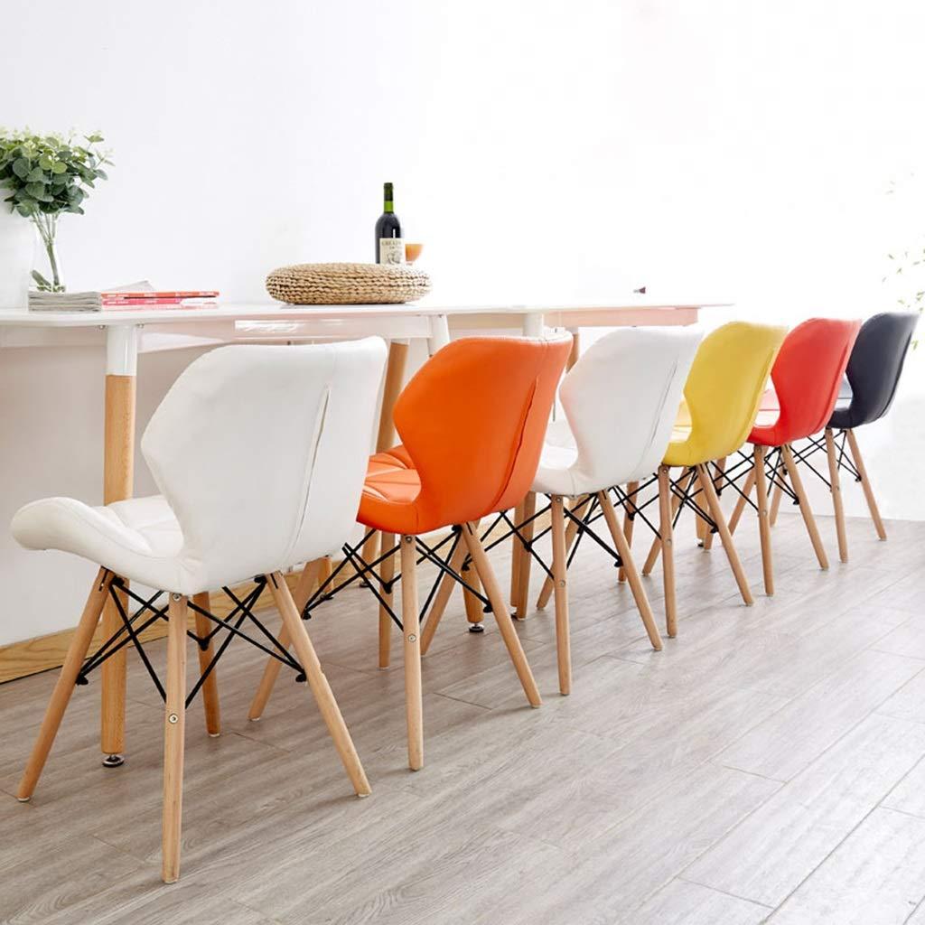 XXHJWXCM Datorspelstol barstol modern matstol kreativ kontorsstol kökspall med ryggstöd och kudde massiv träram PU-läder stoppning skrivbordsstol Vitt gUL