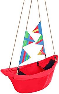 """product image for Kids' Regatta Boat Tree Swing with Colorful Flags and Mesh Bottom, 47"""" L, Holds up to 200 lbs."""