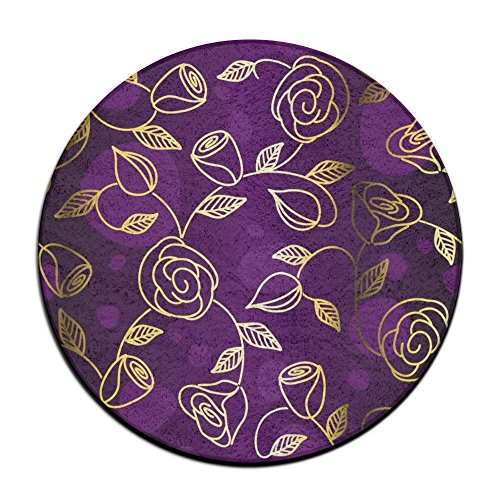ART TANG Gold Rose Floral Flower Purple Area Rug Durable Carpet Non-slip Round Floor Mat Kids Room Carpets (24 Inch Round)