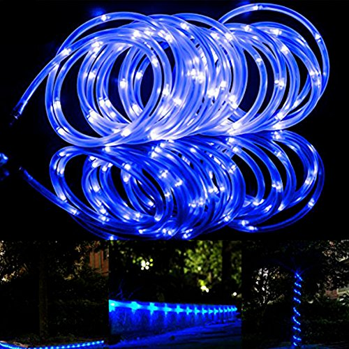 100 LED Rope Lights – Solar Power Outdoor Waterproof 33ft Copper Wire Rope - Gardens Backyards Patio Christmas Party Holiday Wedding Decor LED Solar Lights - Dragon Flame (blue)