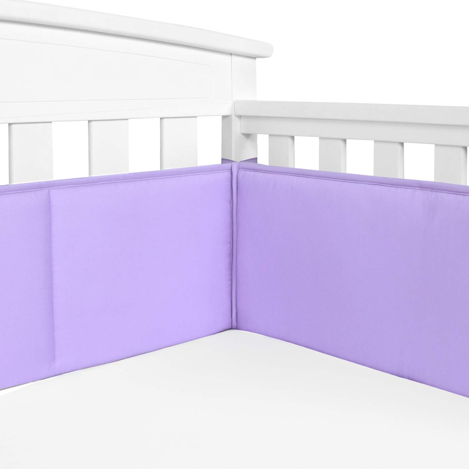 TILLYOU Baby Safe Crib Bumper Pads for Standard Cribs Machine Washable Padded Crib Liner Thick Padding for Nursery Bed 100% Silky Soft Microfiber Polyester Protector de Cuna, 4 Piece/Lavender