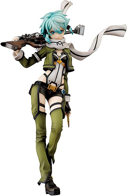 Amazon Com Aquamarine Sword Art Online Ii Sinon 1 7 Scale Pvc Figure Statue Toys Games