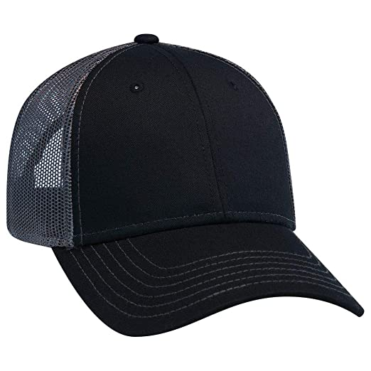 394f5a34a OTTO Adjustable Blank 6 Panel Structured Low Profile Contrast Stitching  Mesh Back Baseball Cap/Trucker Hat