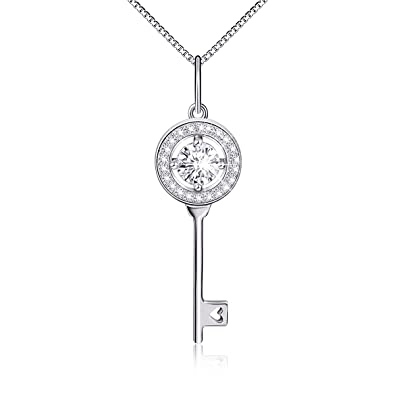 4ae9cfcc5 Amazon.com: Sterling Silver Round Cz Heart Key Pendant Necklace 18