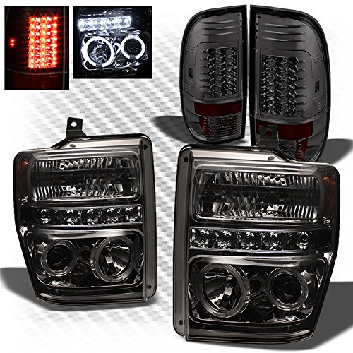 For 2008-2010 Ford F250/F350/F450 Smoked Halo Projector Headlights + Philips-LED Performance Tail Lights 2009
