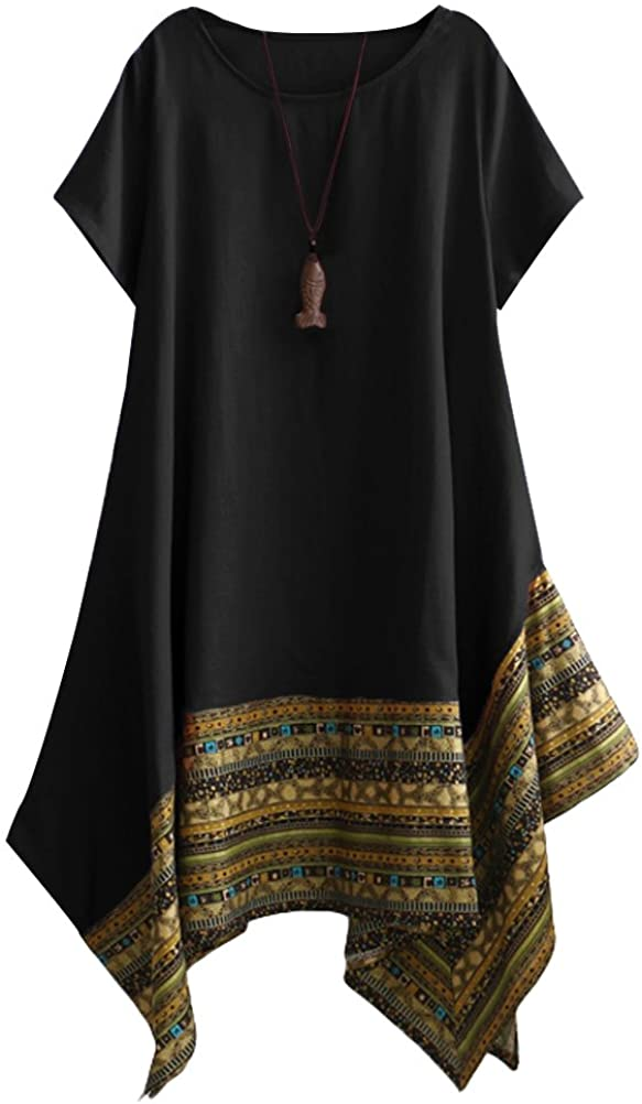 Minibee Women's Ethnic Cotton Linen Short/Long Sleeves Irregular Dress