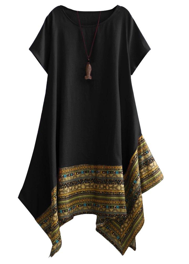 Minibee Women's Ethnic Cotton Linen Short Sleeves Irregular Tunic Dress (2XL, Black)