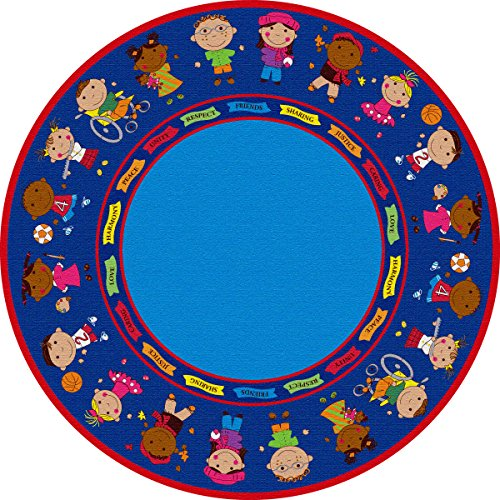 Kid Carpet FE82027A Friends Full Circle Round Nylon Area Rug 6' Multicolored